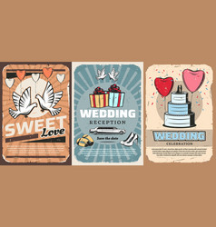 Wedding ceremony gifts car and cake vector