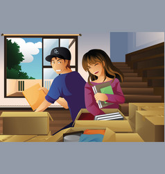 Young couple unpacking boxes vector