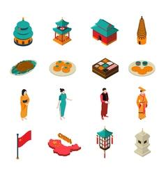 China Isometric Touristic Set vector image vector image