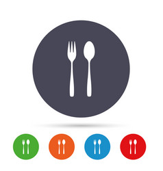 eat sign icon dessert fork and teaspoon vector image