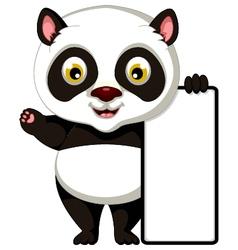 panda cartoon posing with blank sign vector image vector image