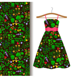 Dress fabric pattern with wild herbs vector