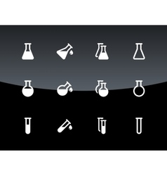 Flask and test tube icons on black background vector image vector image