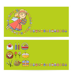 set easter cards with icon vector image vector image