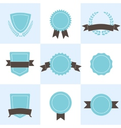 Set of badges shields and wreaths vector image