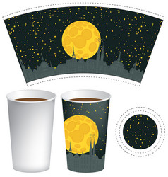 template paper cup with background of night town vector image vector image