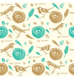 Vintage Sparrow Nest Pattern vector image vector image