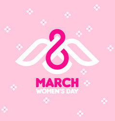 8 march womens day greeting card with white bird vector image