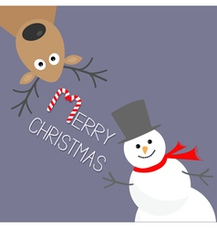 Cartoon Snowman and deer Violet background Candy vector image vector image