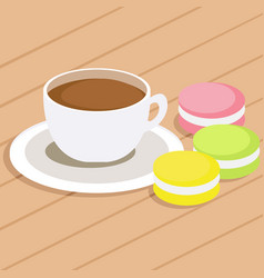 coffee and three macaroons on table vector image vector image