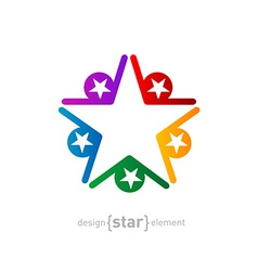 coloured star Abstract design element on white vector image vector image