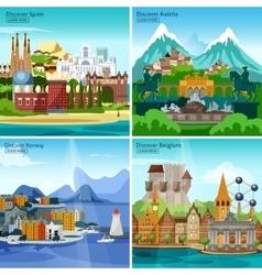 European Touristic Icon Set vector image vector image