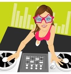female disc jockey mixing music vector image