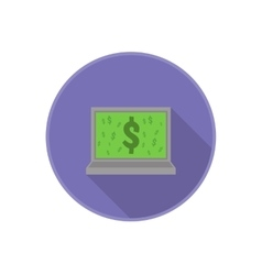 flat icon with computer and dollar sign on vector image
