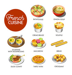 french cuisine menu vector image