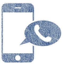 smartphone call balloon fabric textured icon vector image