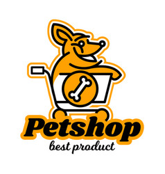 the logo on the theme of shop for pets a dog vector image