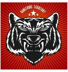 Tigers head in vintage style vector image vector image