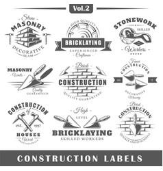 vintage construction labels vector image vector image