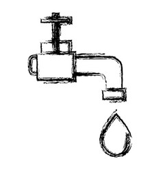 Figure faucet with drop of water to ecology vector