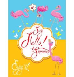 flamingo card 2 380 vector image vector image