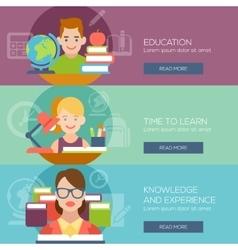 Flat education student pupil kid teacher people vector image