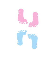 Footprint of girl and boy vector