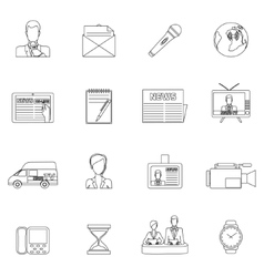 News icons set outline vector image