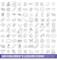 100 children s leisure icons set outline style vector