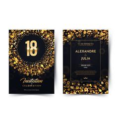 18th years birthday black paper luxury vector