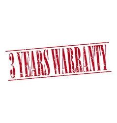 3 years warranty red grunge vintage stamp isolated vector
