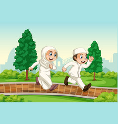 A muslim couple running in park vector