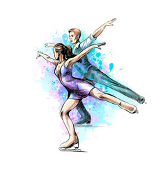 Abstract winter sport figure skating young couple vector