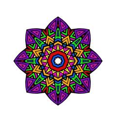 Acid color ethnic aztec mandala pr vector