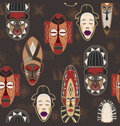 African mask pattern and the ethnic ornament vector