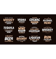 Alcoholic drink Collection labels for menu design vector image