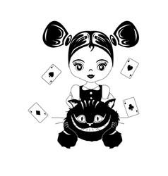Alice in wonderland black vector