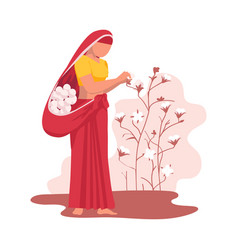 Asian female farmer dressed in saree gathering vector