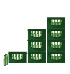 Beer in green crate vector