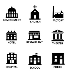 Black government building icons set vector