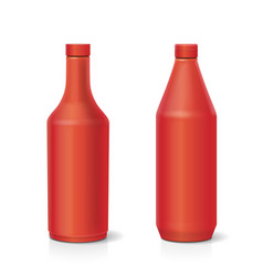 Blank plastic red ketchup bottle vector