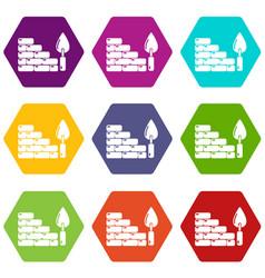 brick wall icons set 9 vector image