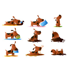 brown cartoon dog set of normal everyday vector image