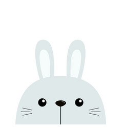 Bunny rabbit cute funny head face kawaii cartoon vector