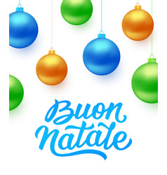 Buon natale background with blue christmas balls vector