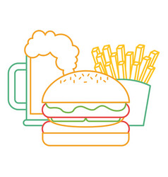 Burger french fries and beer fast food vector