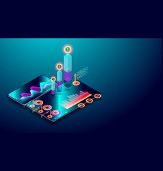 business trend analysis on isometric smartphone vector image