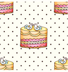 cake with polka dotsseamless pattern vector image