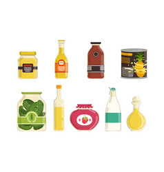 Canned food collection various grocery goods vector