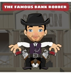 Cartoon character in Wild West - bank robber vector image